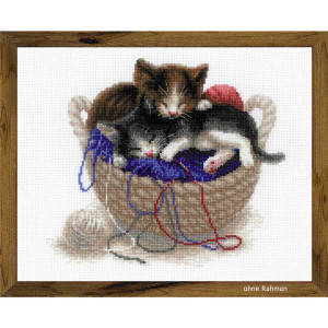 Riolis counted cross stitch Kit Kittens In A Basket, DIY