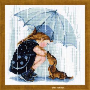 Riolis counted cross stitch Kit Under My Umbrella, DIY