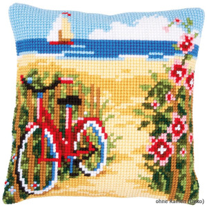 Vervaco stamped cross stitch kit cushion At the beach, DIY