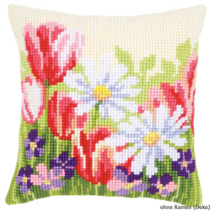 Vervaco stamped cross stitch kit cushion Spring flowers, DIY