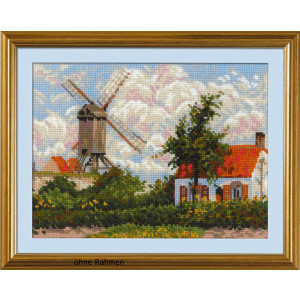 Riolis counted cross stitch Kit Windmill at Knokke after...
