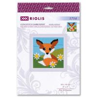 """Riolis Langstich-Set """"Fuchs In Gänseblümchen"""", Stickbild vorgezeichnet"""