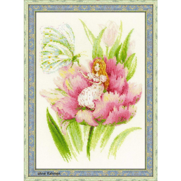 Lila Blumen in Vase Zählmuster Riolis Stickpackung