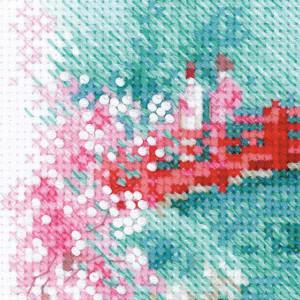 Riolis counted cross stitch Kit Sakura. Bridge, DIY