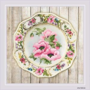 Riolis Satin-Stitch Kit Plate with Pink Poppies. Satin...