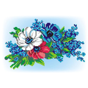 """Cross-stitch kit """"Bouquet in three colors"""", DIY"""