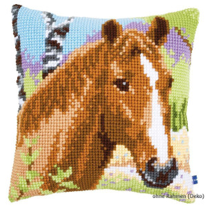 Vervaco stamped cross stitch kit cushion Brown mare, DIY