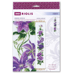 Clematis embroidery kit cross stitch Riolis