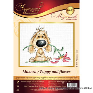 Magic Needle Counted cross stitch kit Puppy and Flower,...