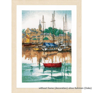Lanarte counted cross stitch kit Sunrise at yacht harbour