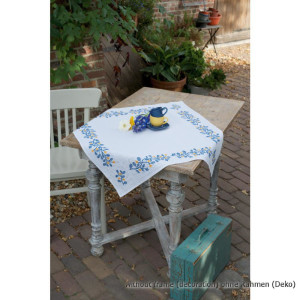 Vervaco Tablecloth stitch embroidery kit Blue tendrils,...