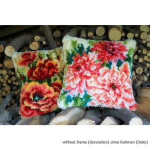 Vervaco Latch hook kit cushion Poppies, stamped, DIY