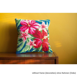 Vervaco stamped cross stitch kit cushion Hibiscus...