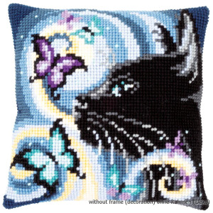 Vervaco stamped cross stitch kit cushion Cat with...