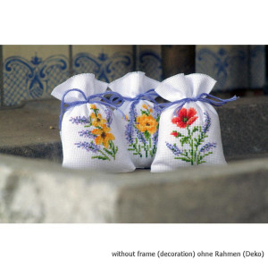 Vervaco Herbal bags counted cross stitch kit Flowers and...
