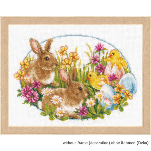 Vervaco counted cross stitch kit Rabbits and chicks, DIY