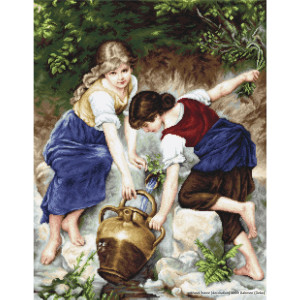"""Luca-S Kreuzstich Set """"Am Brunnen"""",..."""