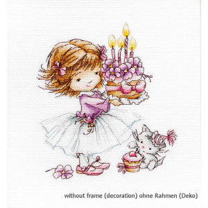 """Luca-S counted Cross Stitch kit """"Girl with a Kitten..."""