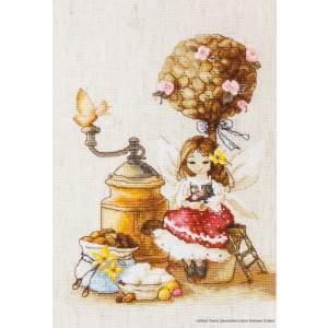 """Luca-S counted Cross Stitch kit """"Coffee Fairy"""",..."""
