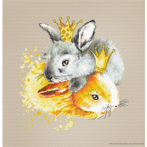"""Luca-S counted Cross Stitch kit """"Bunnies"""",..."""