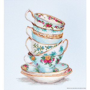 """Luca-S counted Cross Stitch kit """"Turquoise teacups..."""