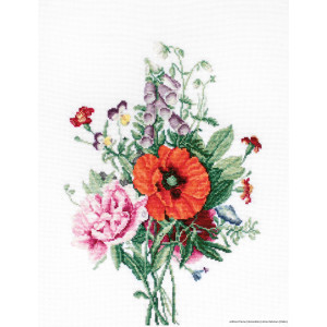 """Luca-S counted Cross Stitch kit """"Bouquet with poppy..."""