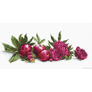 """Luca-S counted Cross Stitch kit """"Peonies and Red..."""