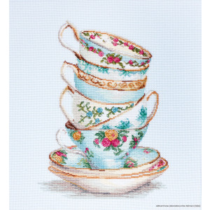 """Luca-S counted Cross Stitch kit """"Turquoise Tea Cups..."""