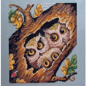"Merejka counted Cross Stitch kit ""Owls"" DIY"