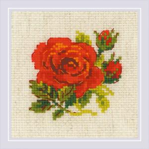 "Riolis Kreuzstichset ""Rote Rose"", Zählmuster"