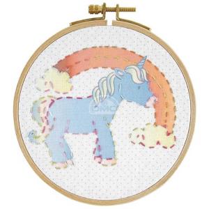 DMC Junior stitch Kit Unicorn with wooden hoop, 6+, DIY