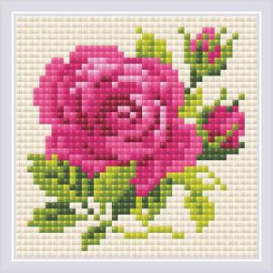 """Riolis Diamond Painting """"Pink Rose"""", 10x10cm"""