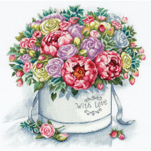 """Panna counted cross stitch kit """"Peonies in a Hat..."""