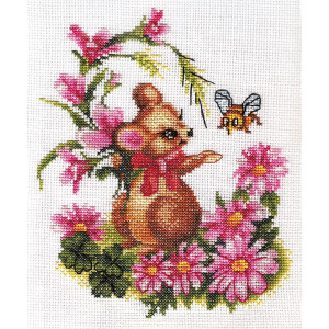 """Panna counted cross stitch kit """"Mouse with..."""