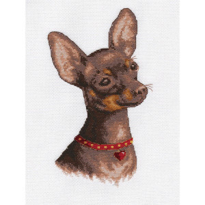 """Panna counted cross stitch kit """"Toy Terrier""""..."""