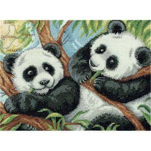 """Panna counted cross stitch kit """"Panda Bears""""..."""