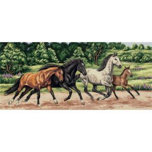"""Panna Kreuzstichset """"Wilde Pferde"""" 44.5x20cm,..."""
