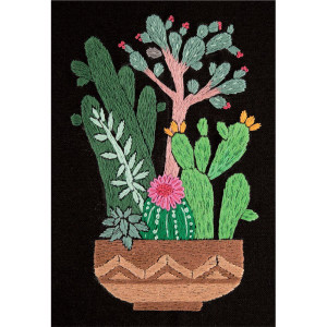 """Panna stamped satin stitch kit """"Cactuses in..."""