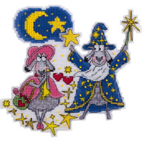 """Panna Kreuzstichset Magneten """"Alle Sterne des Himmels sind für dich!"""" 15,5x14,5cm, Zählmuster"""
