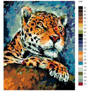 """Paint by Numbers """"Attentive leopard"""", 40x50cm,..."""