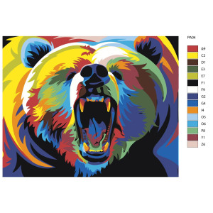 """Paint by Numbers """"Roaring bear colorful"""",..."""