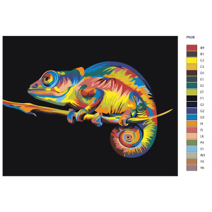 """Paint by Numbers """"Colorful chameleon on..."""