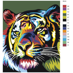 """Paint by Numbers """"Evil tiger colorful"""",..."""
