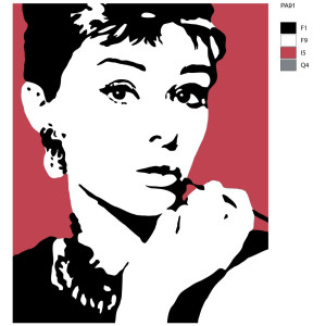 """Paint by Numbers """"Audrey portrait"""" , 40x50cm, PA91"""