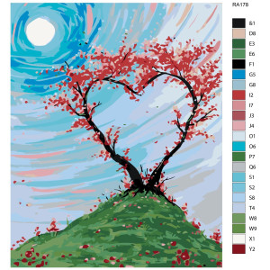 """Paint by Numbers """"Tree heart"""" , 40x50cm, RA178"""