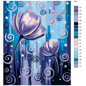 """Paint by Numbers """"Flowers XVI"""" , 40x50cm, F53"""