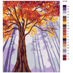 """Paint by Numbers """"Tree in red"""" , 40x50cm, RA186"""