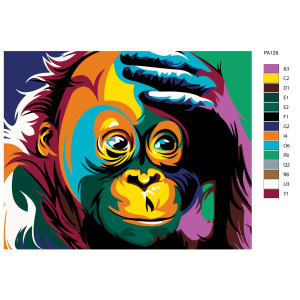"""Paint by Numbers """"Monkey II"""" , 40x50cm, PA129"""