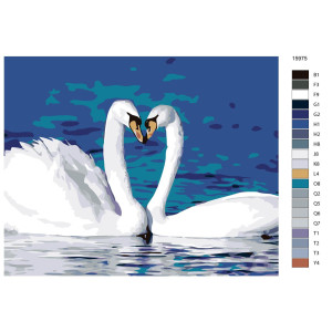 """Paint by Numbers """"Pair of swans"""", 40x50cm,..."""