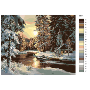 """Paint by Numbers """"River in the winter forest"""" ,..."""
